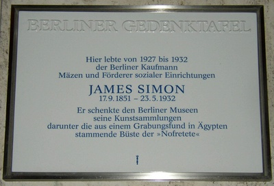 Berliner Gedenktafel für James Simon (Bundesallee 23) in Berlin-Wilmersdorf. Quelle: Doris Antony, Berlin 2007