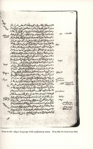 Poem in the vulgar language with explicatory notes, From MS, B (Yeni Cami 888, fols. 265b-266a) © Bollingen Foundation Inc., New York, N. Y.