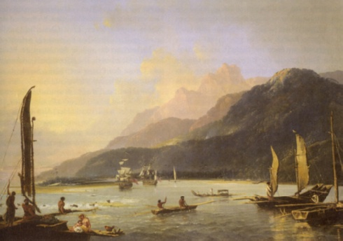 "Die ""Resolution"" und ""Adventure"" in Matavai Bay, Tahiti, 1776 - William Hodges (1744-1797), Öl auf Leinwand (1776); ebd., Abb. S. 19"