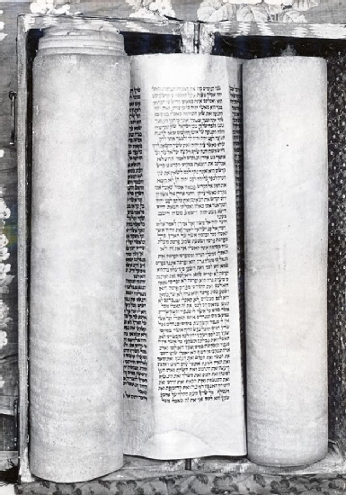 Torah Scroll from the Mullah Samuel Synagogue (ca. 1845-50) now Hariva School, Herat, Afghanistan - Courtesy Werner Herberg 1973